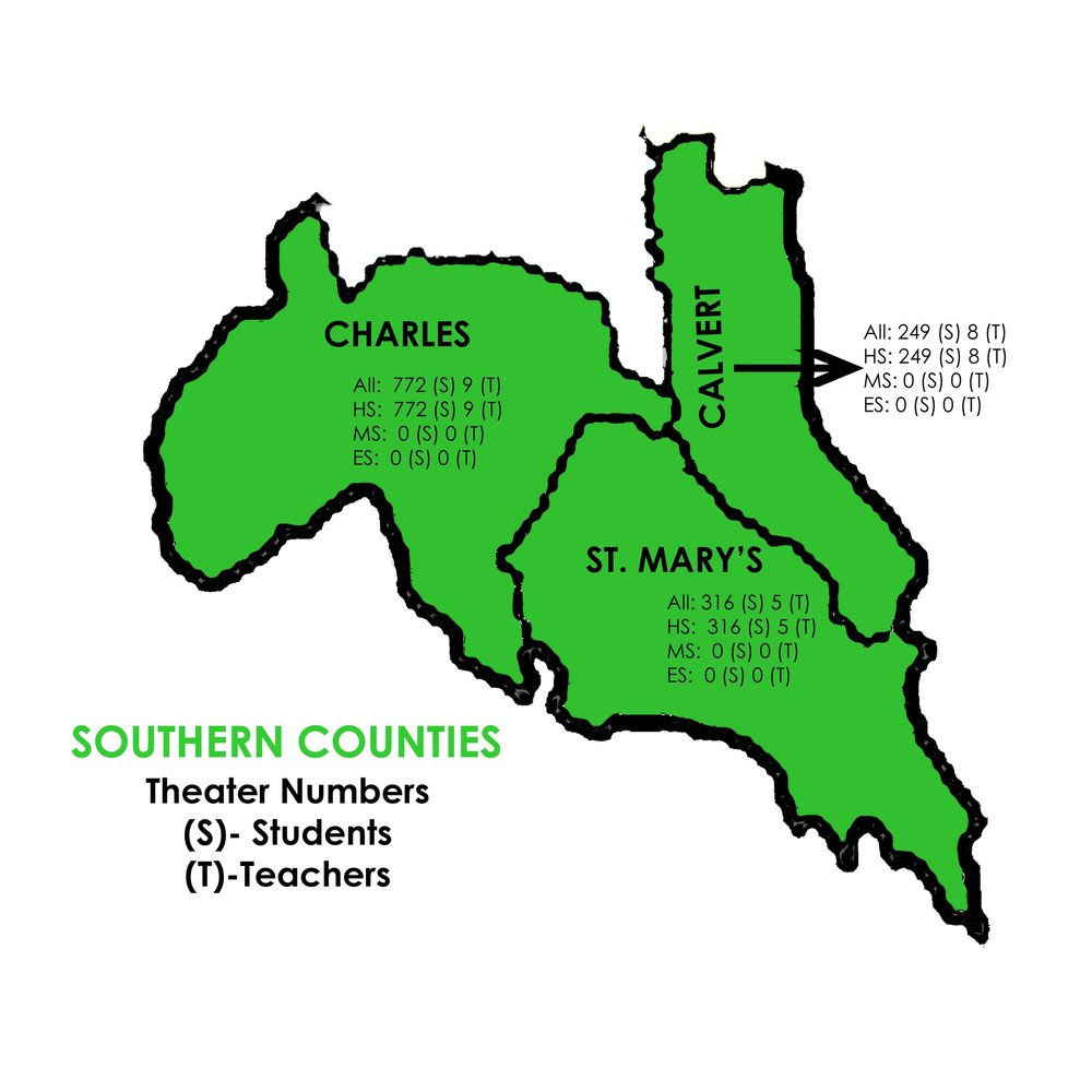 Theatre - Southern Counties   Charles: 772 Students, 9 Teachers  St. Mary's: 316 Students, 5 Teachers  Calvert: 249 Students, 8 Teachers