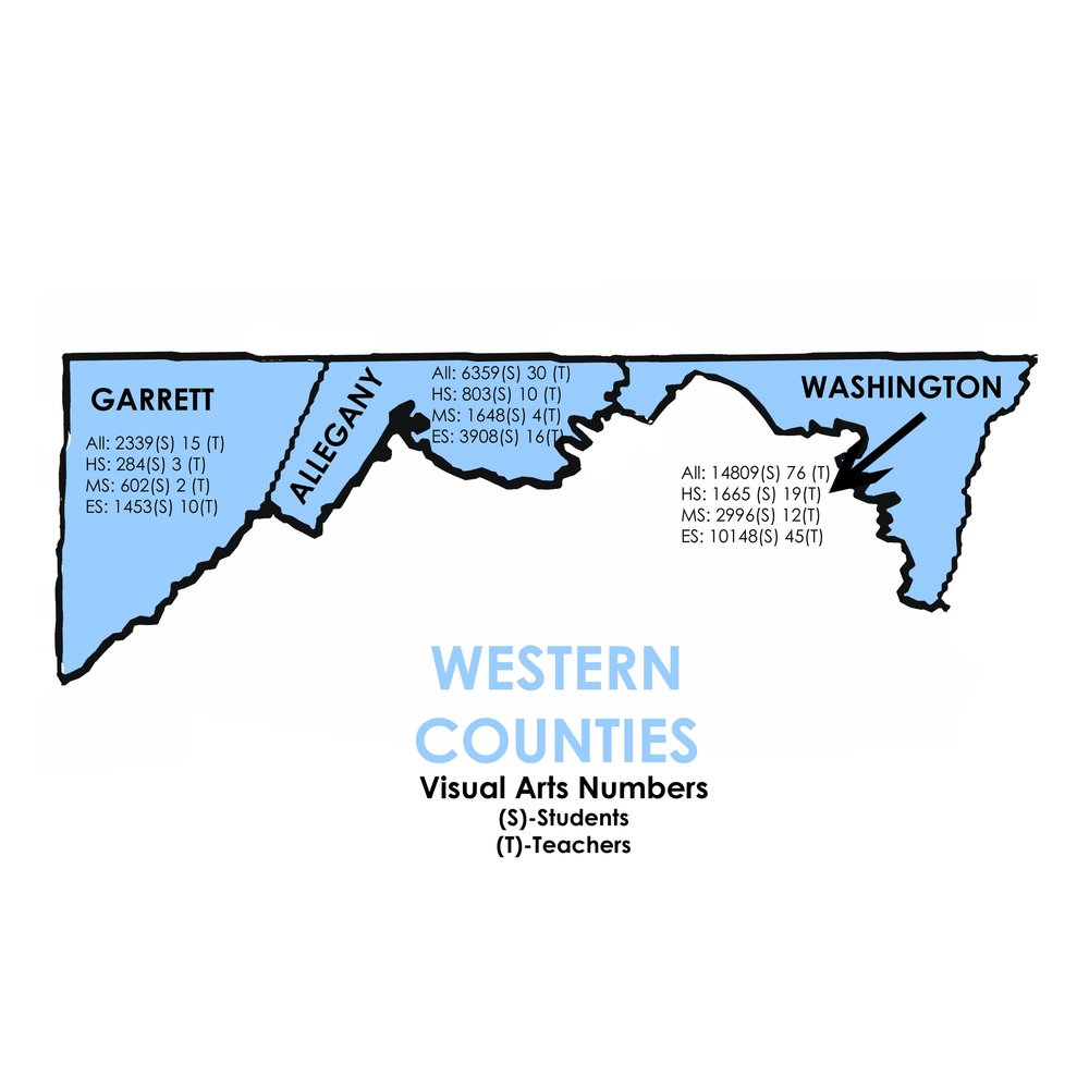 Visual Arts - Western Counties   Garrett: 2339 Students, 15 Teachers  Allegany: 6359 Students, 30 Teachers  Washington: 14809 Students, 76 Teachers