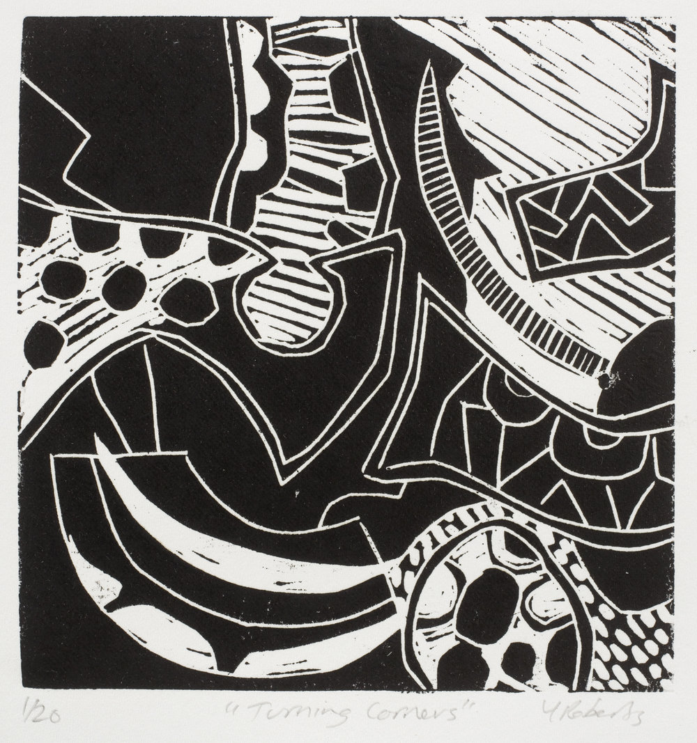 Turning Corners , Linocut, edition 1/20