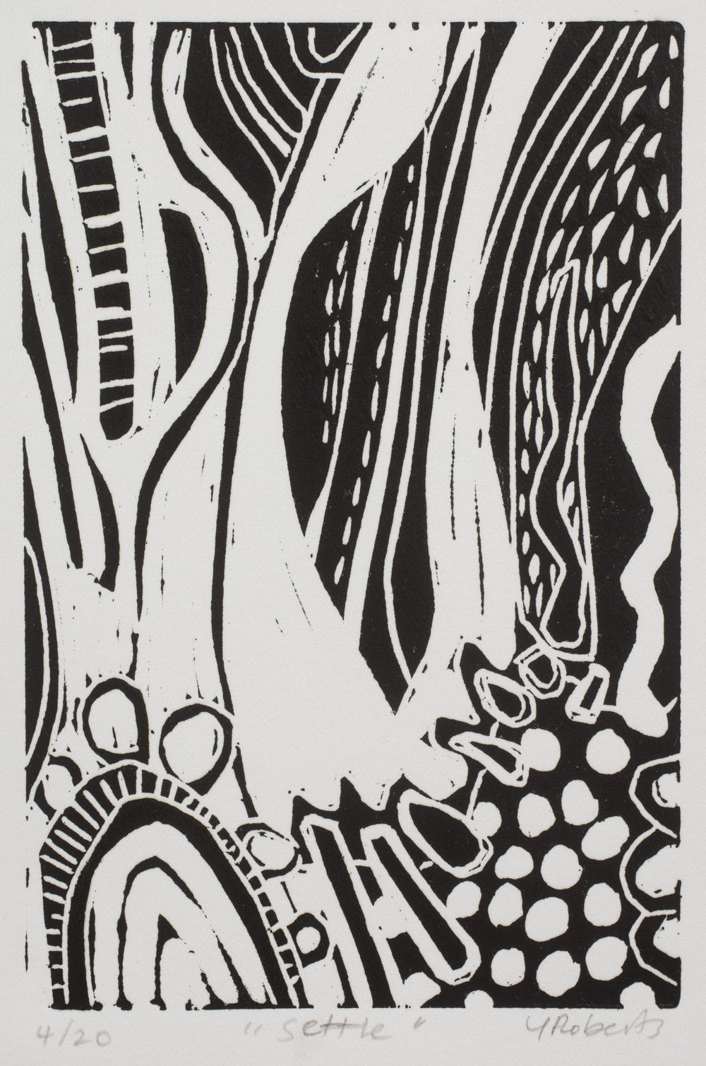 Settle , Linocut, edition 4/20