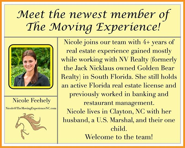The Moving Experience family is growing - meet our newest member, Nicole Feehely!  Nicole holds an active real estate license in North Carolina & Florida and brings a wealth of knowledge and experience to our team.  Say hello to Nicole and find out how she's able to help you with your next real estate move! Nicole@themovingexperiencenc.com  #NCRealtors #TriangleRealEstate #TheMovingExperience