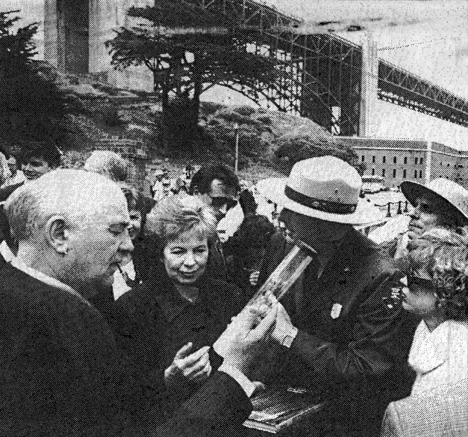 Former President of the Soviet Union, Mikhail Gorbachev (left), inspects a Jonsteen seedling during a visit to San Francisco, CA.
