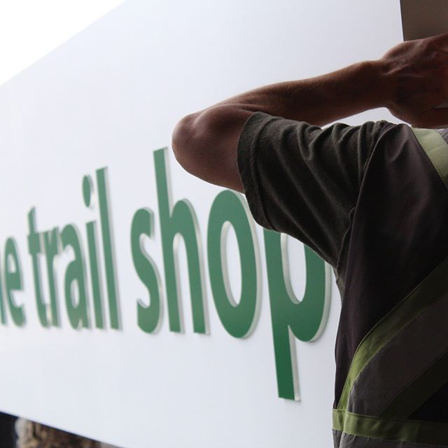 The Trail Shop headed out the door. #newcenturysigns #thetrailshop #exteriorsignage #halifax