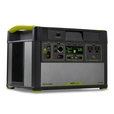 If you want an easy plug & play power system (and can afford it), we'd recommend this  Goal Zero Yeti 1400 battery . This powers our fridge, lights, electric water pump, and fan and charges our phones and laptops without an issue.