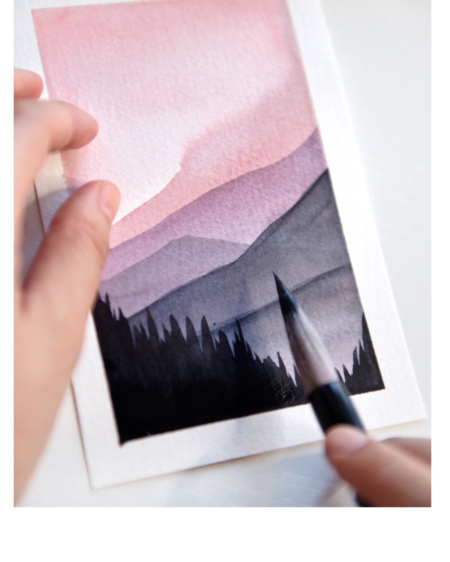 Watercolor Tutorial How To Paint Easy Landscape With Pink