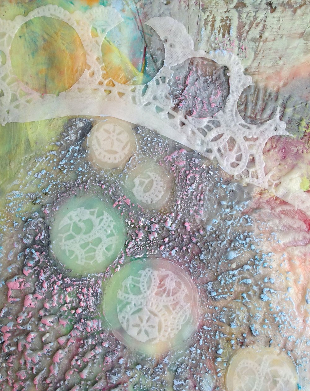 "Soft Tiara Rising   Encaustic, mixed media on birch, 10"" x 8"""