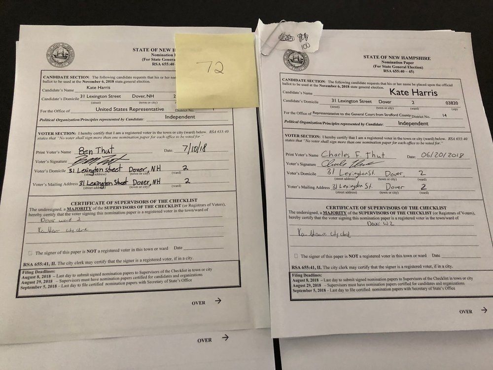 - 172 Signatures collected and certified by Dover's town clerk have been sent to the NH Secretary of State's Office.