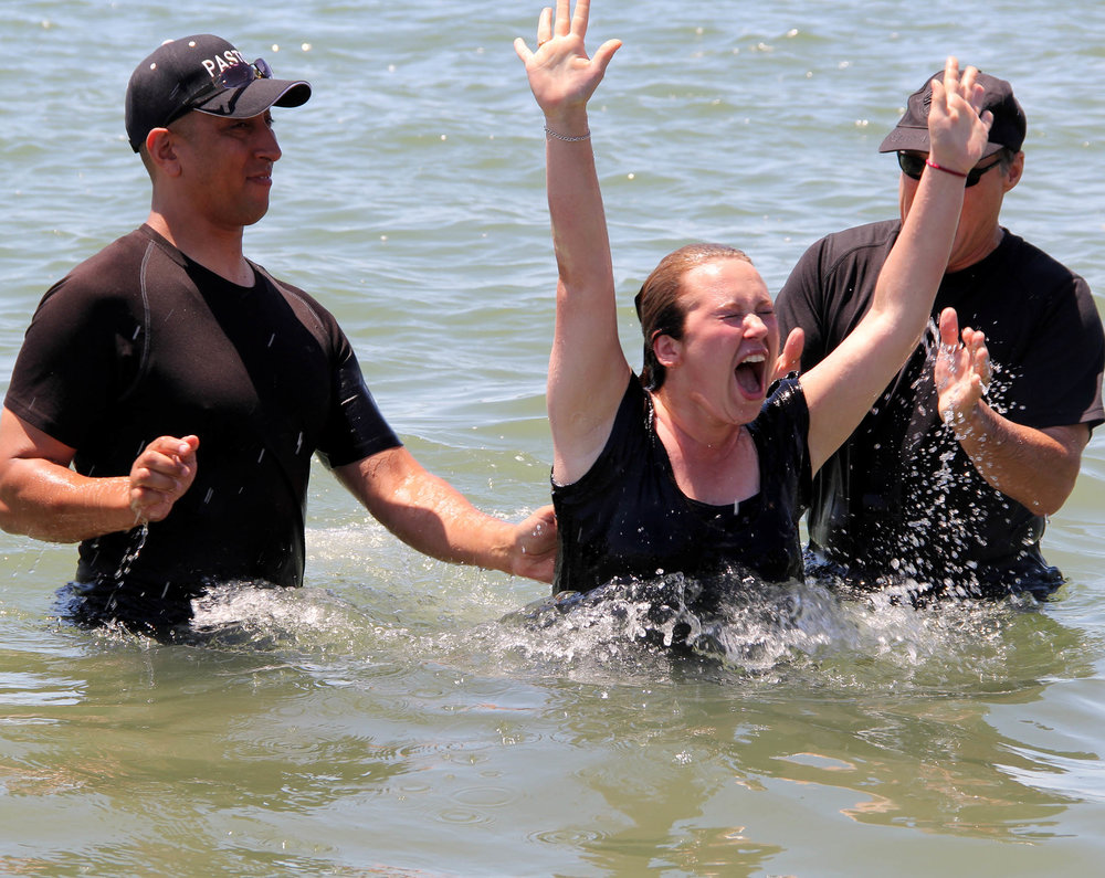 Teen Challenge NorCalWest Nevada graduate getting baptized.