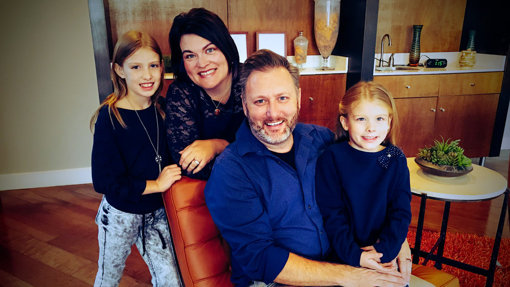 David Davis with his family: His wife, Kari, and their two children, Emma and Malia.