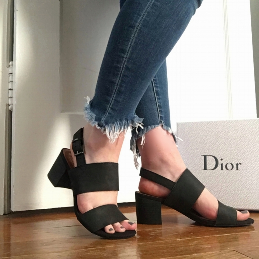 - The first pair I grabbed were classic, sold black block-heeled sandals: The TOMS Leather Poppy Sandals in Black