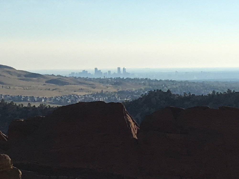 The view of downtown from The Red Rocks Park and Amphitheater
