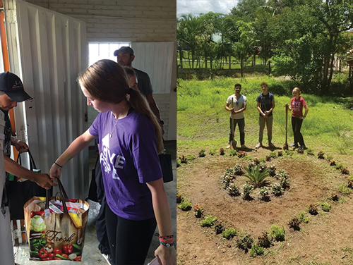 Food bags were prepared and distributed to 30 needy families. This was the highlight of the week. Our work team planted flowers in the children's park and painted at the Village Chapel.
