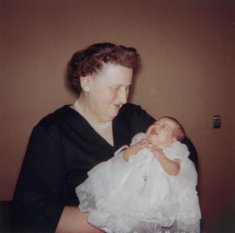 My Grandmother holding me on the day I was baptized.