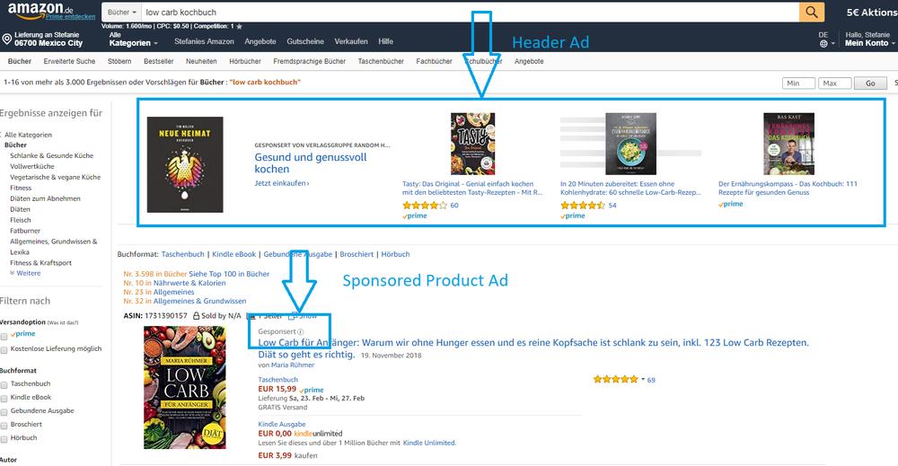 Amazon Werbekampagne Sponsored Product Ad