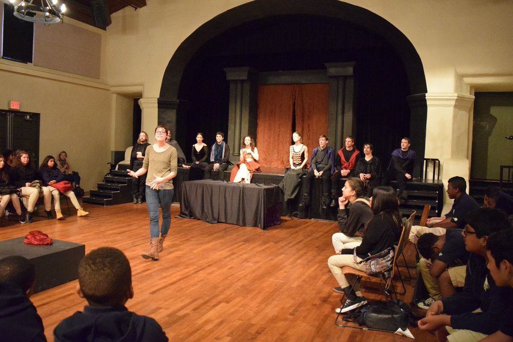 Director Rose Leisner discussing King Lear with Middle School Students from Animo- Western Charter School!