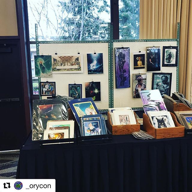 Prints prints prints for sale! If you're at @_orycon be sure to stop by the print shop table in the Art Show. You know you want to take that print home 👍🏻 #orycon #orycon40 #fantasyinfocus #prints #fantasyart #fantasyshow #convention #portland