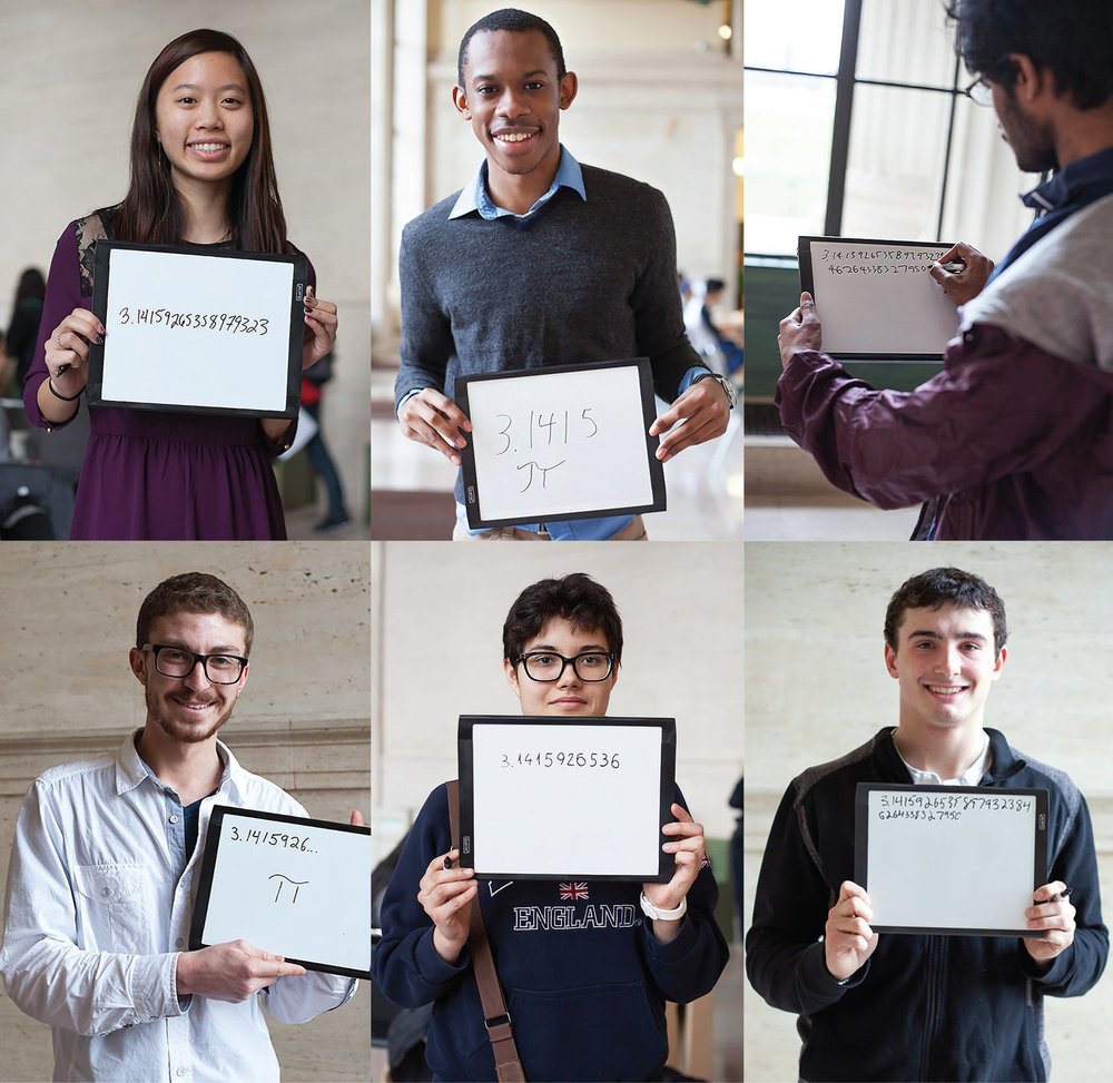 6 students write Pi from memory. Photo: Jose-Luis Olivares/MIT News