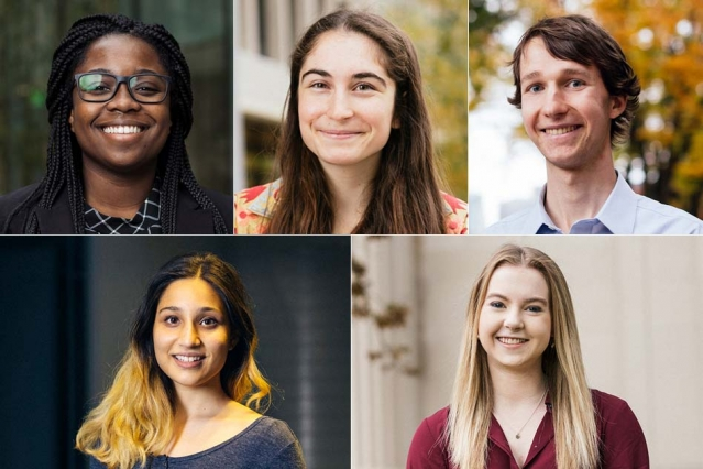 2019 Marshall Scholars clockwise from top left: Crystal Winston, Katie O'Nell, Kyle Swanson, Anna Sappington, and Radha Mastandrea.  –MIT News.