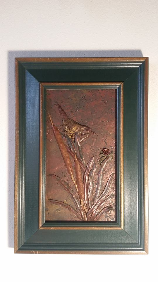 """Outlier""  A bas relief piece that currently lives with my grandma an' 'em."