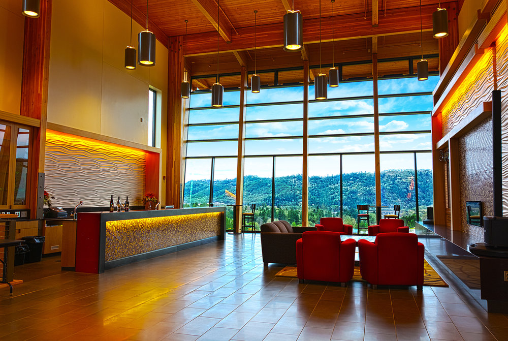 The Wine Bar, designed for events, at the Southern Oregon Wine Institute building at UCC.