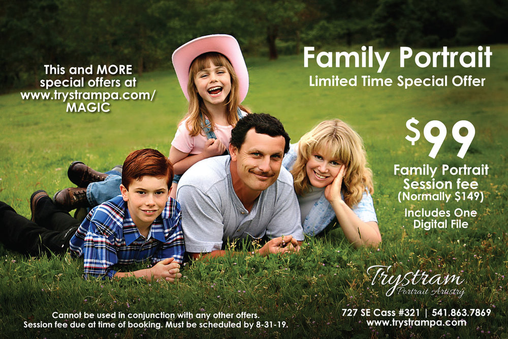 Family Sessions - Deluxe family portrait session, indoor or outdoor. Includes retouching and one digital file. (It's never too early to plan for Christmas cards!) Wall portraits and gift prints available at an additional fee. Must be booked by April 15, 2019.