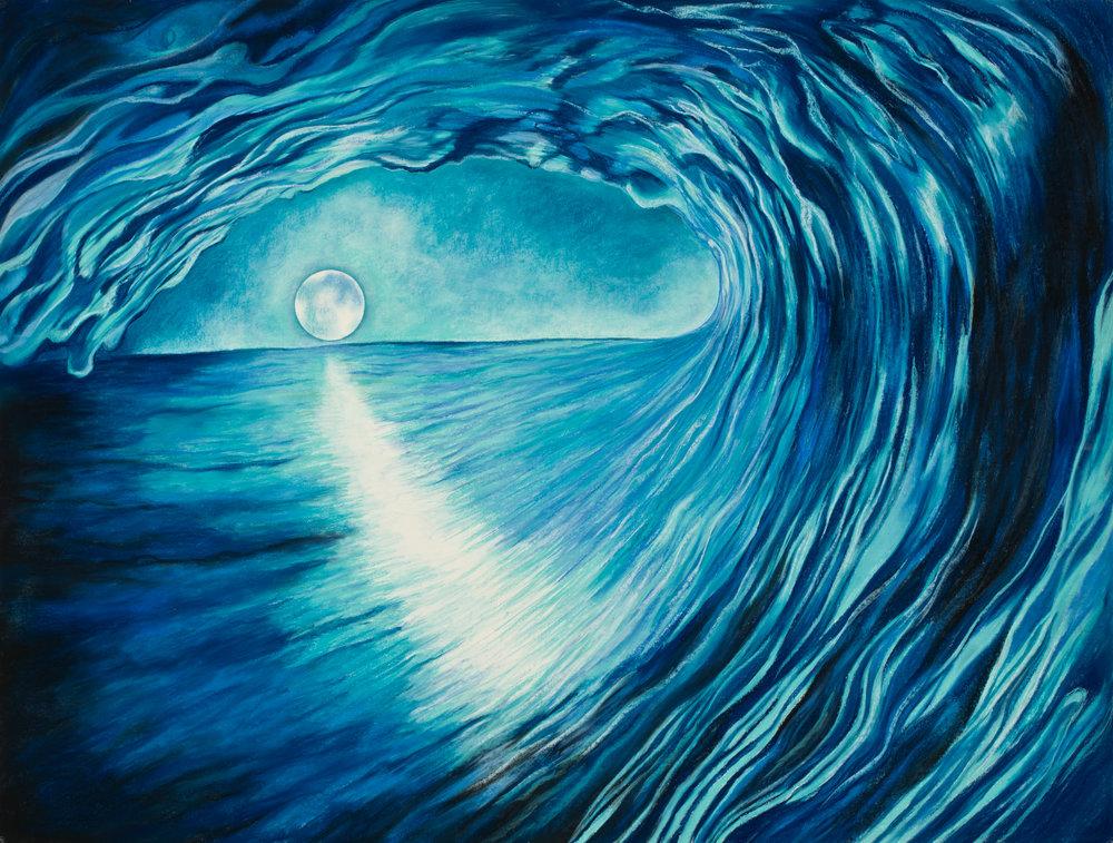 """Moonlit Aquatic Energy Pastel, 38"""" X 50"""""""