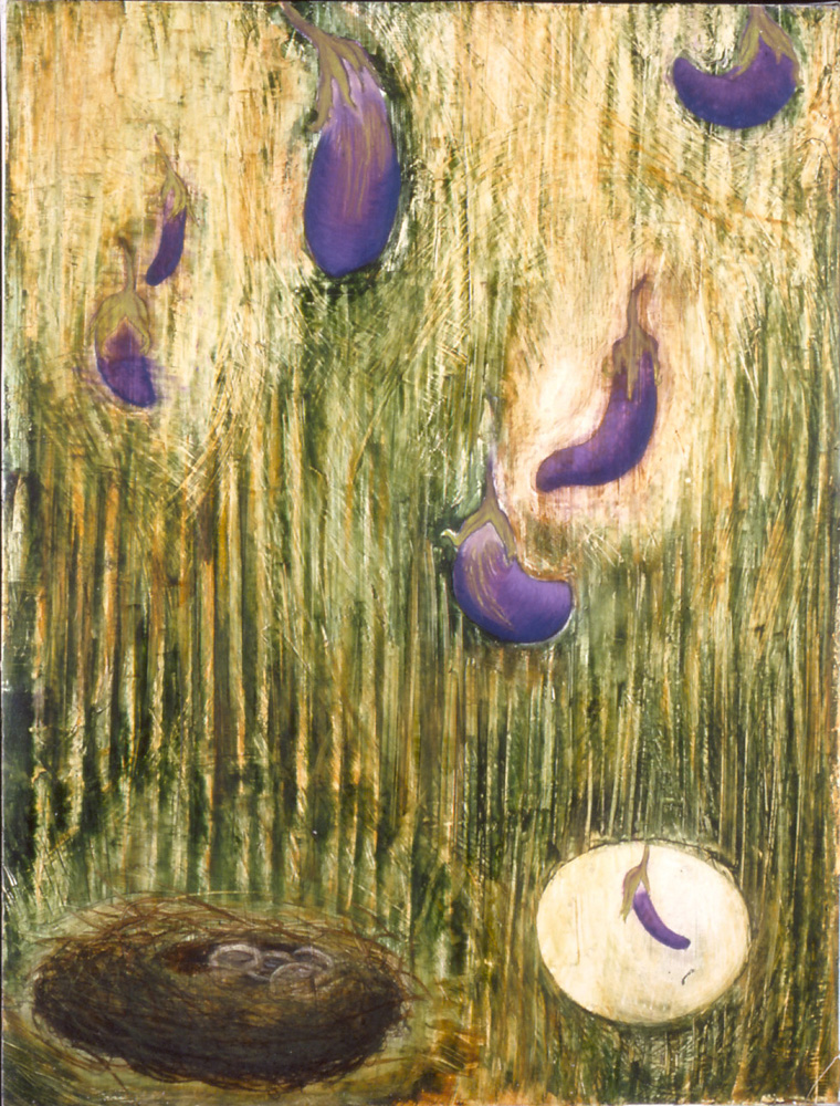 Japanese Eggplants Floating over Nest ( SOLD ) Mixed media on canvas