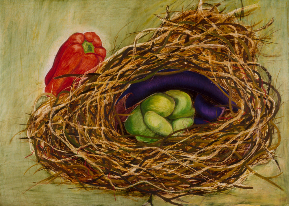 Erotic Vegetables ( SOLD ) Mixed media on canvas, 36 X 50 inches