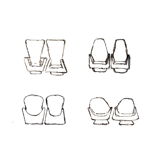 After conducting market research, sketching basic shapes were done to explore possibilities.