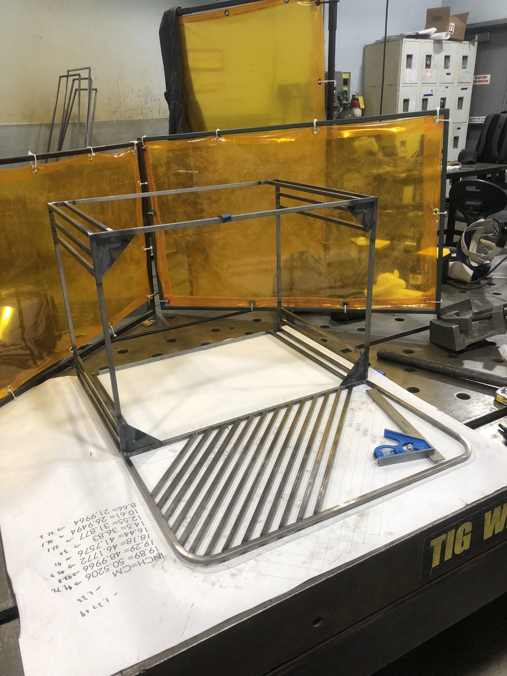 5. After constructing the 3D document, it was printed in full scale to aid the process of TIG welding the seat back detail. After that, all the welds were grinded flush to the surface using an angle grinder.