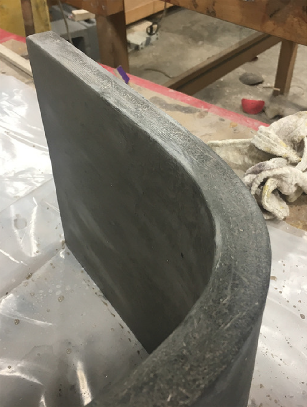 8. After sanding the piece for more than 10 hours,the finish on the concrete improved by a lot and was very smooth.