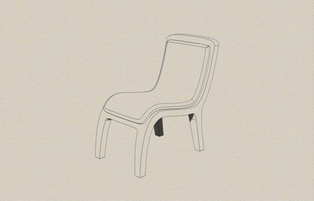 I decided to take a minimal approach and designed a chair that had the basic elements of the restaurant chair.
