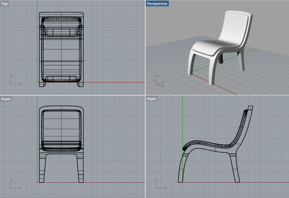 I used Rhinoceros,to visualize the chair in a three dimensional form.