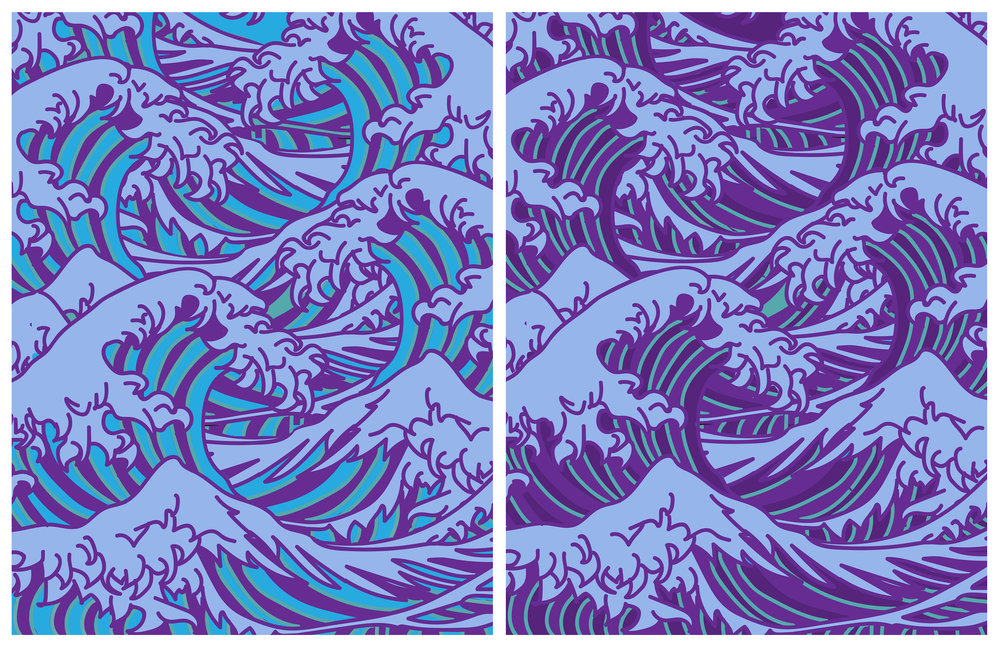Recreation of The Great Wave off Kanagawa   Program Used:  Adobe Illustrator and Photoshop  Through recreating The Great Wave off Kanagawa and exploring the different placements and colors combinations, it resulted in a successful design that has the Bezold Effect.