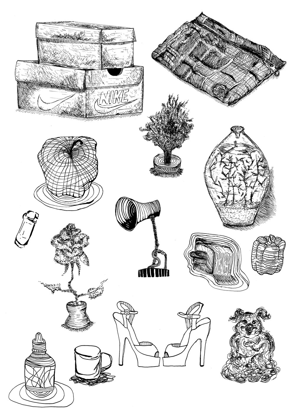 BLACK AND WHITE PEN DRAWINGS