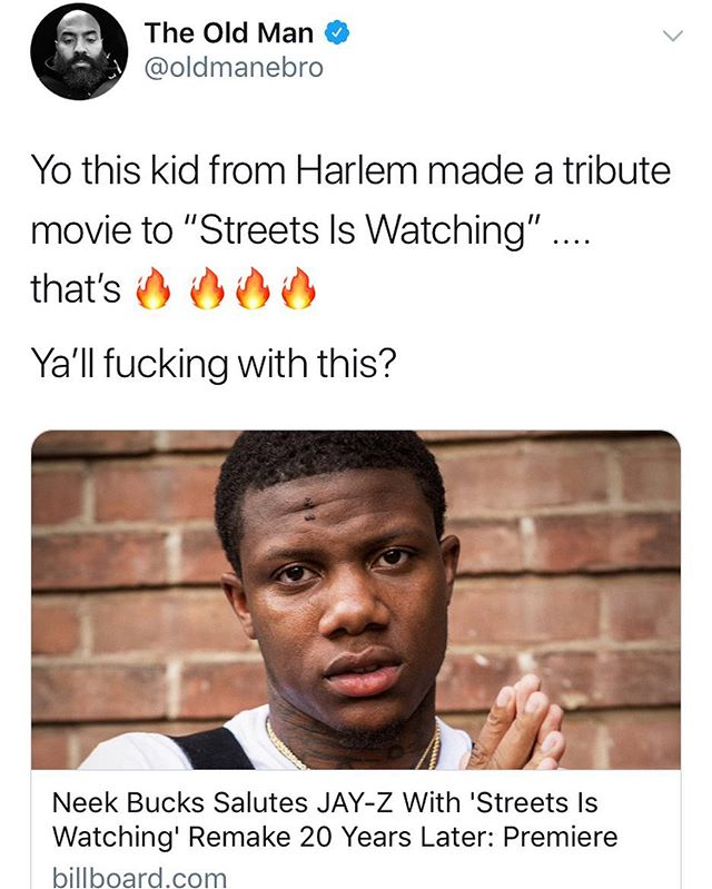 @oldmanebro Salute MyBrother! Appreciate The Tweet #StreetsIsWatching2018 Out Now 🙏🏾