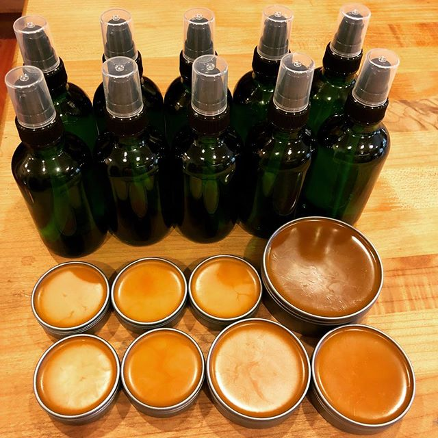 We have been fulfilling orders this afternoon. 10 bottles of our Lavender Calendula Body and massage oil for mommas and babies alike as well as 8 Arnica and cayenne muscle salves. This is how we work as a small batch business.