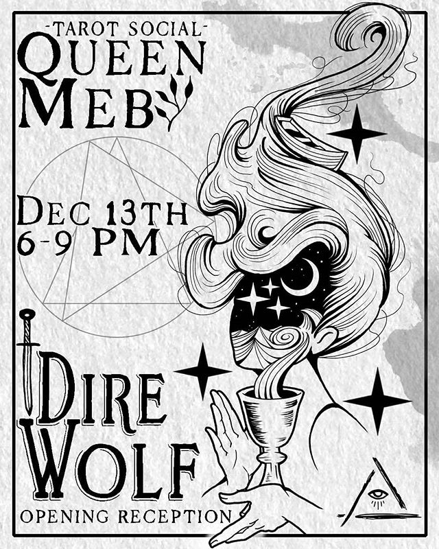 So excited to announce this joint event with our awesome neighbors, @q.mebpdx! We'll be having our opening reception from 6-9PM on Thursday, December 13th -- come by, meet our artists, and get a free raffle ticket for art, merch, and tattoo gift cards. And, while you're at it, be sure to head next door to Queen Meb. They're a gorgeous metaphysical boutique, selling handmade goods, candles, skincare products, tarot decks, and more. We'll be posting more details as the date approaches!  #portlandtattoo #portlandartists #tattooshop #direwolfpdx #queenmebpdx #metaphysicalshop #womanownedbusiness #portlandgifts #witch #occult #portland #oregon