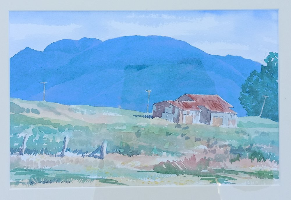 Aorere Barn . Watercolour on paper 180mm x 280mm frame 330mm x 400mm