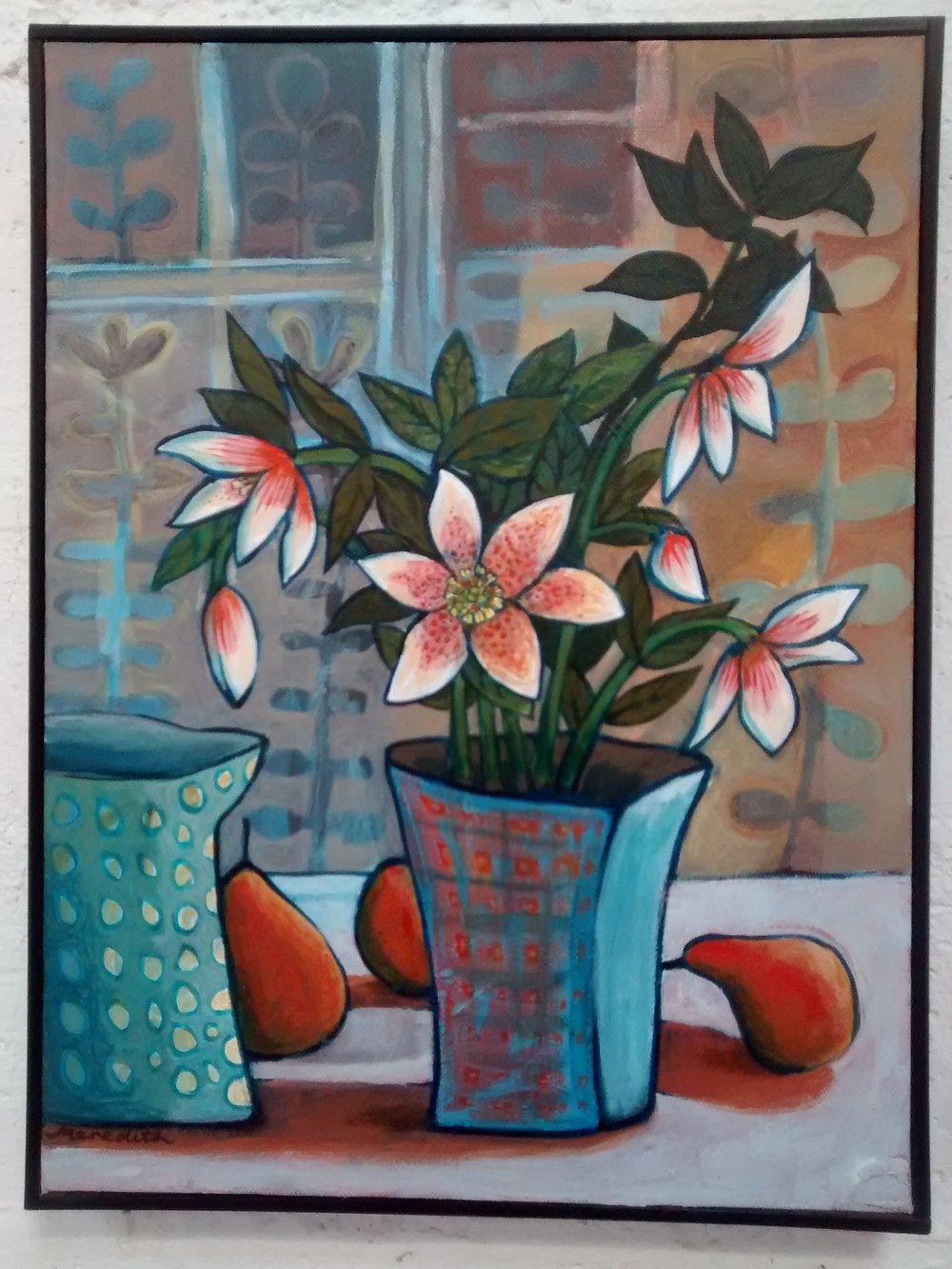 Winter Roses  (2014). Framed Acrylic on Canvas