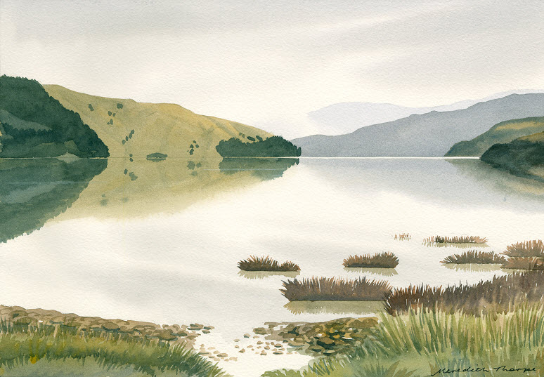 Cable Bay Towards Delaware  (2014). Watercolour on paper 265mm x 380mm Frame 500mm x 600mm