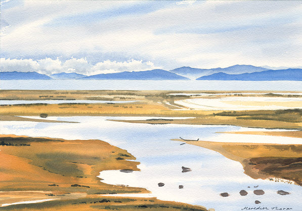 Able Tasman Summer  (2014). Watercolour on paper 265mm x 380mm Frame 500mm x 600mm