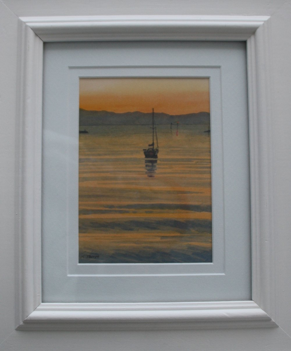 Haven Sunset  (2014). Watercolour on paper 120mm x 175mm