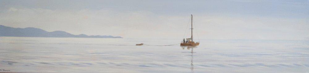 Outward Bound  (2014). Acrylic on canvas 250mm x 760mm