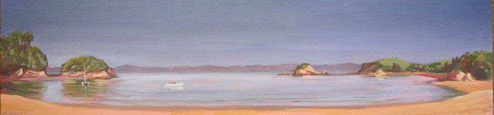 Abel Tasman Summer  (2014). Acrylic on canvas 250mm x 760mm