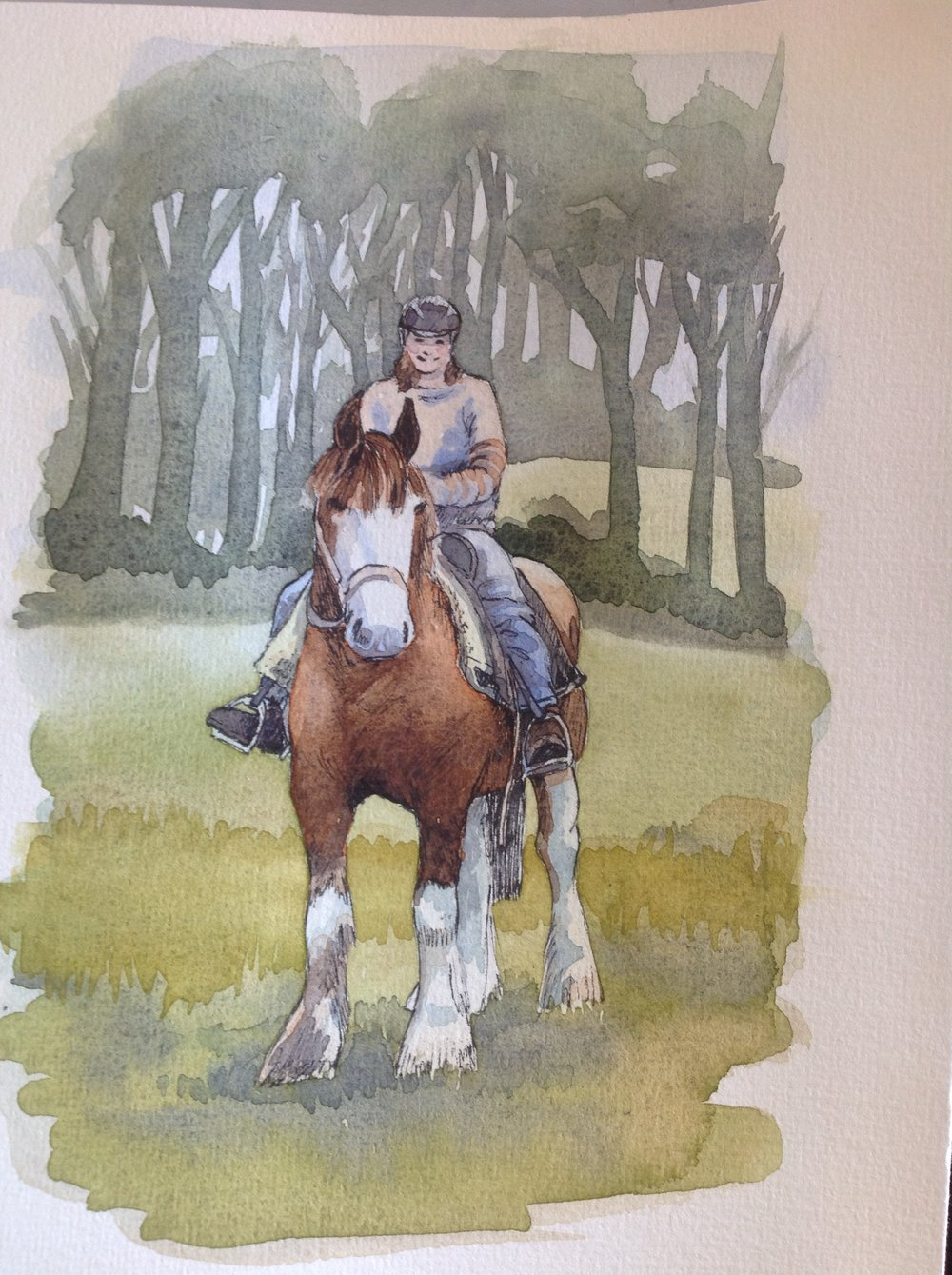 Southern Ride  (2017). Framed Watercolour