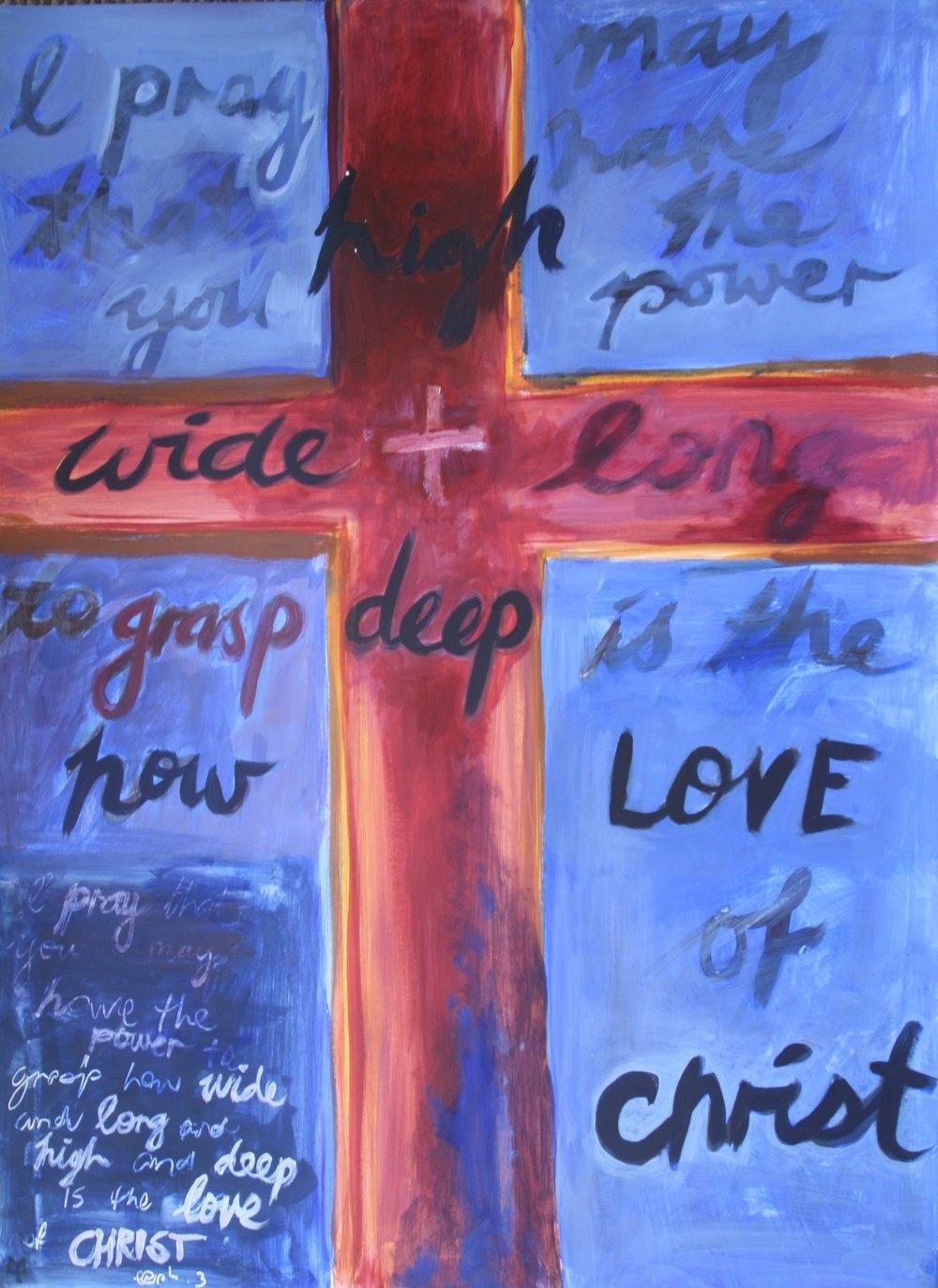 Painted Verses - Ephesians 3  (2017). Acrylic on Card 640mm x 900mm
