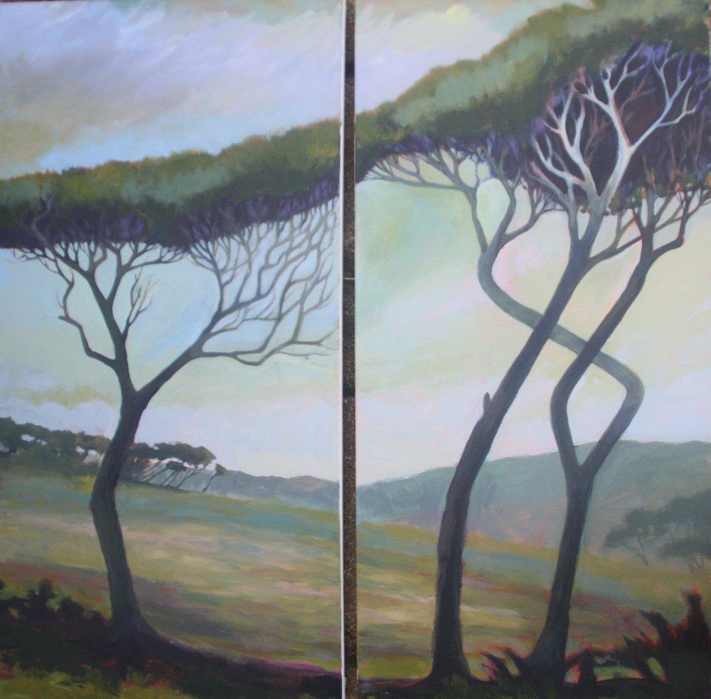Manuka Diptych, Wharariki, Golden Bay  (2018). Acrylic on canvas 760mm x 380mm x 2