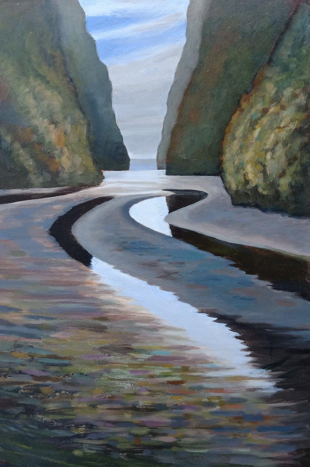 Coastal Creek, Wharariki, Golden Bay  (2016). Acrylic on canvas 760mm x 510mm