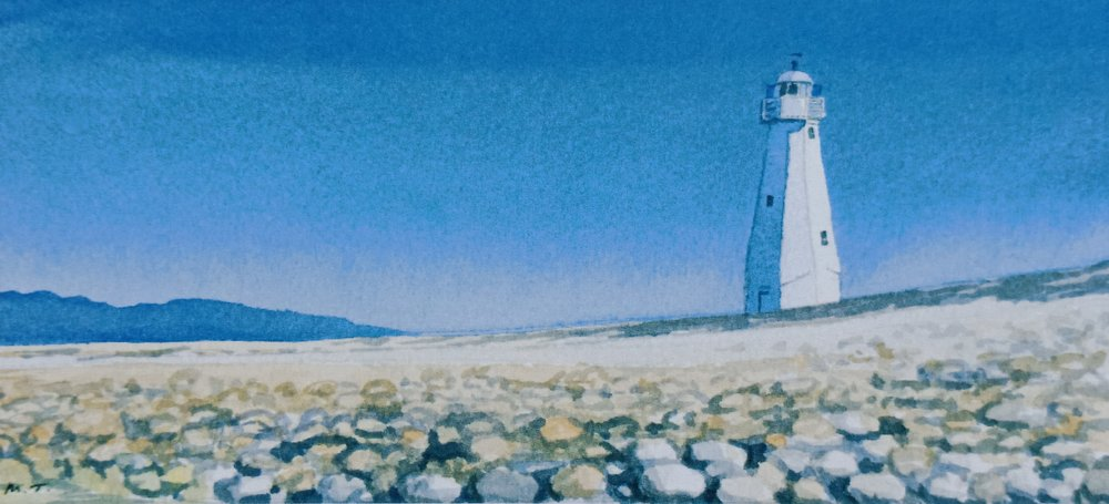 The Light House – Nelson  (2014). Watercolour on paper 110mm x 240mm